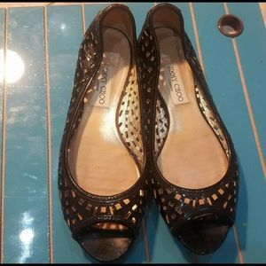 Jimmy Choo Black Patent Leather Open Toe Flats 40